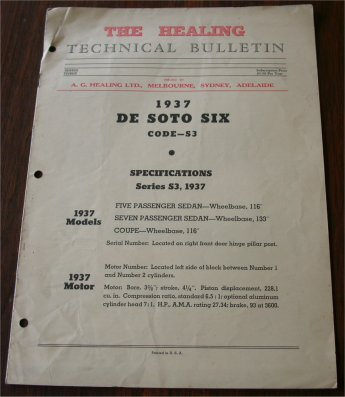 DESOTO 1937 HEALING TECHNICAL BULLETIN S3