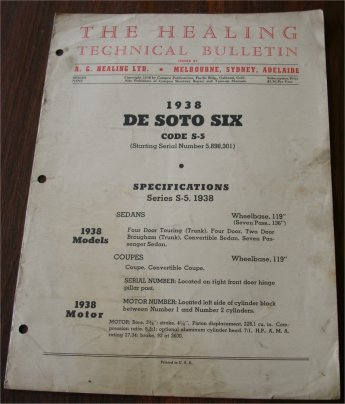 DESOTO 1938 HEALING TECHNICAL BULLETIN S5