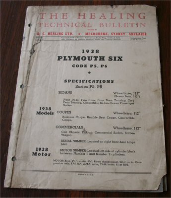 PLYMOUTH 1938 HEALING TECHNICAL BULLETIN P5 P6