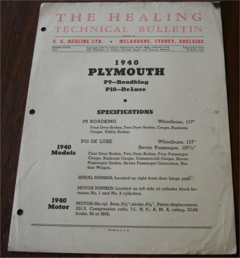 PLYMOUTH 1940 HEALING TECHNICAL BULLETIN P9 P10