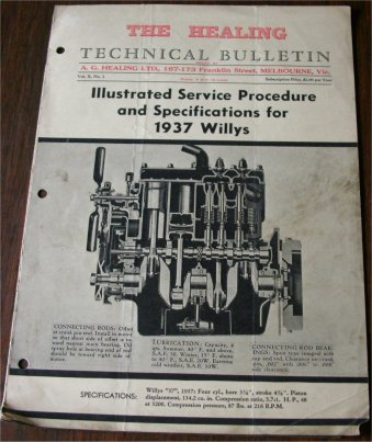 SERVICING THE  WILLYS 1937 37  TECHNICAL BULLETIN