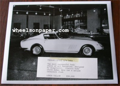 FERRARI 275GT B/4 1968 ORIGINAL PRESS PHOTO