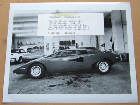 LAMBORGHINI COUNTACH 1975 ORIGIANAL PRESS PHOTO