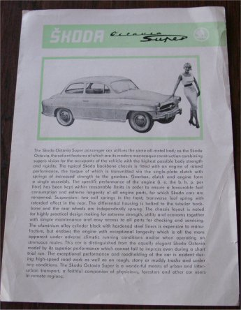 SKODA OCTAVIA SUPER SALES BROCHURE