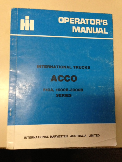 INTERNATIONAL HARVESTER ACCO TRUCK 1980 OPERATORS OWNERS MANUAL