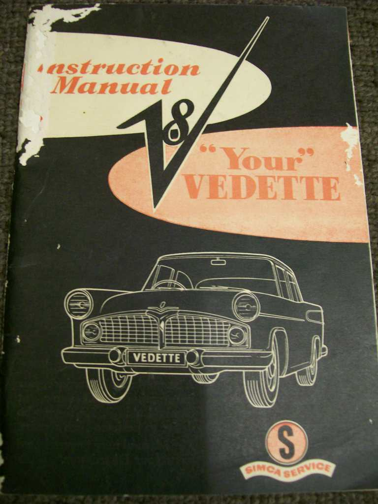 SIMCA VEDETTE V8 CHRYSLER AUSTRALIAN ORIG OWNERS GLOVEBOX MANUAL
