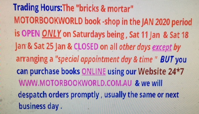 MOTORBOOKWORLD TRADING HOURS  - Click Image to Close