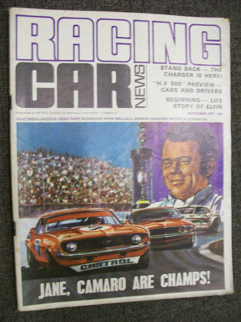 RACING CAR NEWS 1971/09 ELFIN STORY VH CHARGER  BOB JANE CAMARO