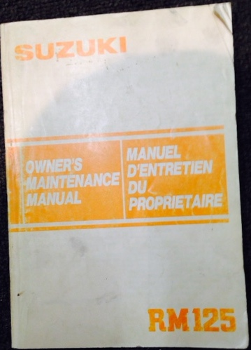 SUZUKI RM125 1984 OWNERS MAINTENANCE MANUAL