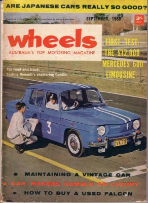 WHEELS 1965/09 RENAULT R8 GORDINI FORD FALCON XM CORTINA GT
